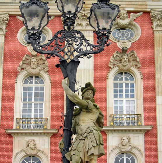 Ancient Lantern in front of Sans Souci Palace in Potsdam, Germany