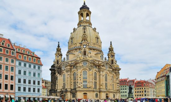 Dresden, Germany. Very beautiful and famous church Frauenkirche
